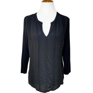 Anthropologie Black Crochet Lace Embroidered Tunic
